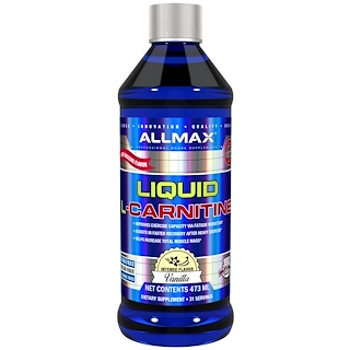 ALLMAX Nutrition, L-Carnitine Liquid + Vitamin B5, Vanilla Flavor, 16 oz (473 ml)
