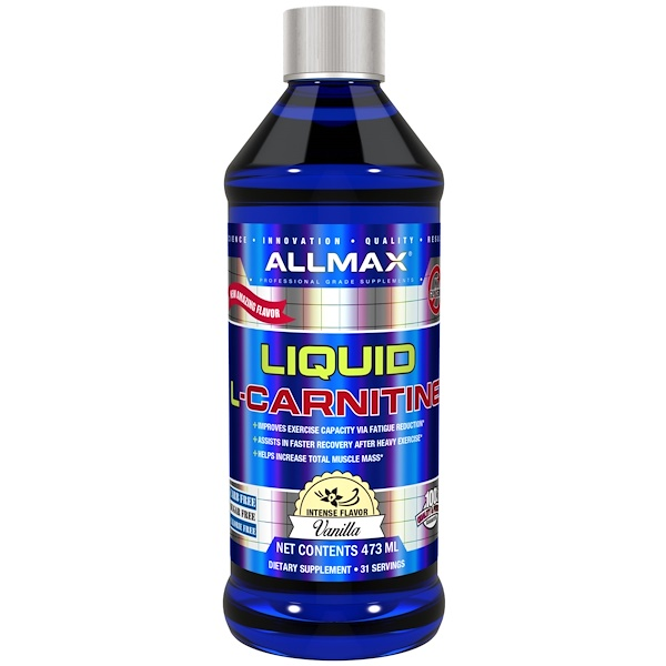 ALLMAX Nutrition, 液體L-肉鹼,濃郁香草味,16盎司(473毫升)