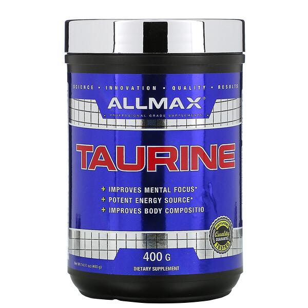 ALLMAX Nutrition, Таурин, без добавок, веганский продукт без глютена, 3000мг, 400г (14,11унций)