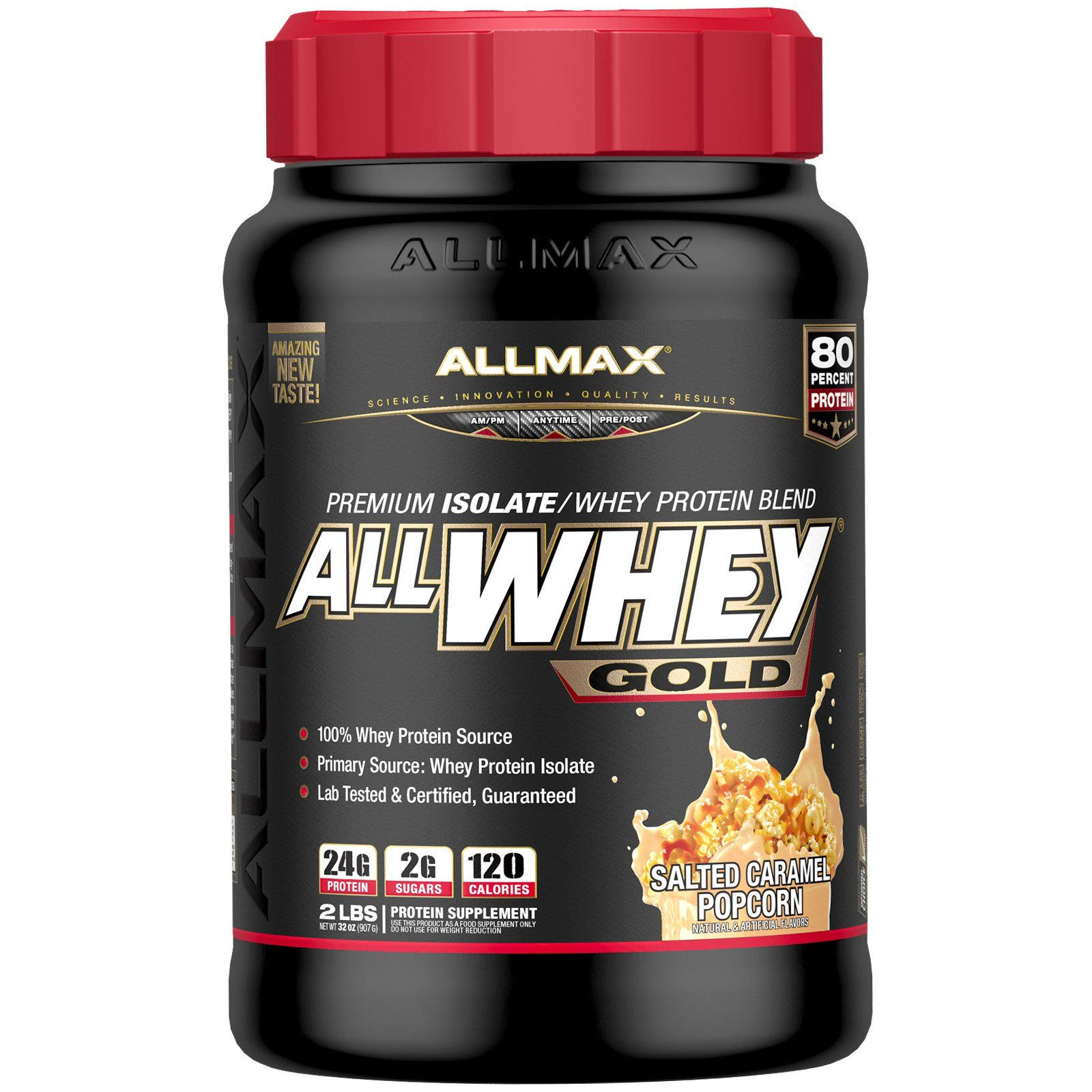 ALLMAX Nutrition, AllWhey Gold, 100% сывороточный протеин, соленая карамель и попкорн, 2 фунта (907 г)
