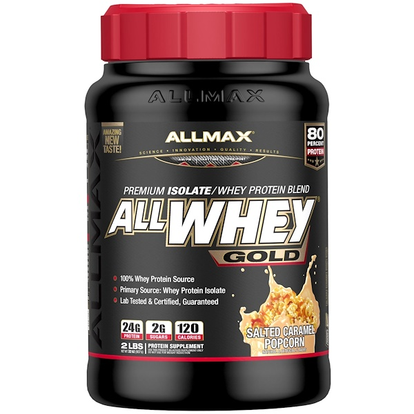 ALLMAX Nutrition, AllWhey Gold, 100% Whey Protein + Premium Whey Protein Isolate, Salted Caramel Popcorn, 2 lbs (907 g)