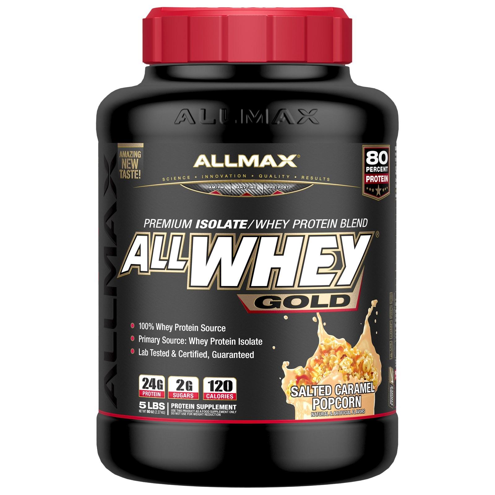 ALLMAX Nutrition, AllWhey Gold, 100% сывороточный белок + премиальный изолят сывороточного белка, соленый карамельный попкорн, 2,27 кг (5 фунтов)