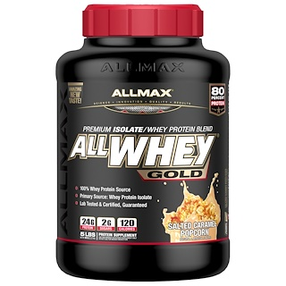 ALLMAX Nutrition, AllWhey Gold, 100% Whey Protein + Premium Whey Protein Isolate, Salted Caramel Popcorn, 5 lbs. (2.27 kg)