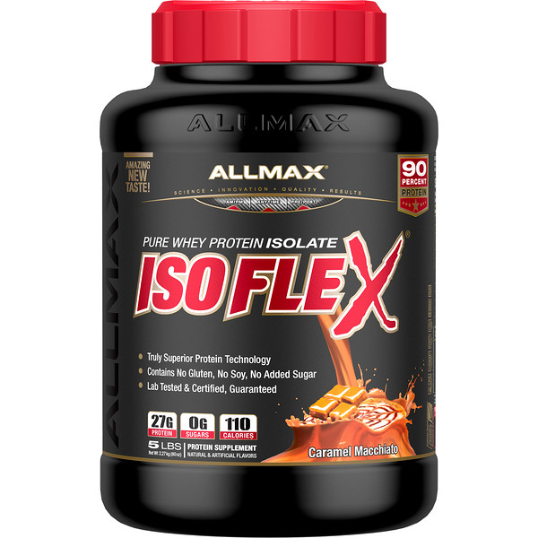ALLMAX Nutrition, Isoflex, Pure Whey Protein Isolate (WPI Ion-Charged Particle Filtration), Caramel Macchiato, 5 lbs (2.27 kg)