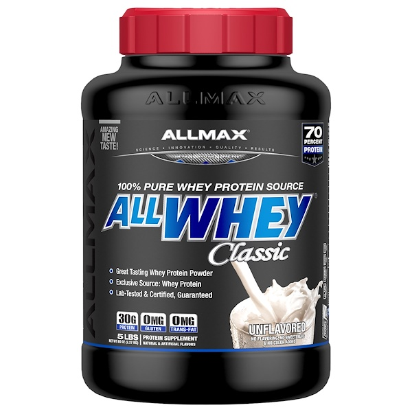 ALLMAX Nutrition, AllWhey Classic, 100% Whey Protein, Unflavored, 5 lbs. (2.27 kg) (Discontinued Item)