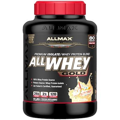 Фото - AllWhey Gold, 100% сывороточный белок + первосортный белковый изолят, со вкусом торта ко дню рождения, 2,27 кг (5 фунтов) gold standard 100% сыворотка аппетитная клубникка 5 фунтов 2 27 кг