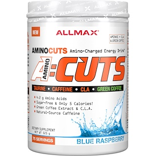 ALLMAX Nutrition, AMINOCUTS (ACUTS), Weight-Loss BCAA (CLA + Taurine + Green Coffee), Blue Raspberry, 525 g