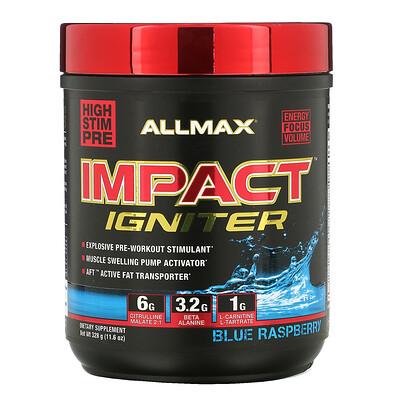 Купить ALLMAX Nutrition Impact Igniter Pre-Workout, Blue Raspberry, 11.6 oz (328 g)