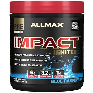 ALLMAX Nutrition, IMPACT Igniter, Pre-Workout, Citrulline Malate + Beta-Alanine + NAC, Blue Raspberry, 11.6 oz (328 g)