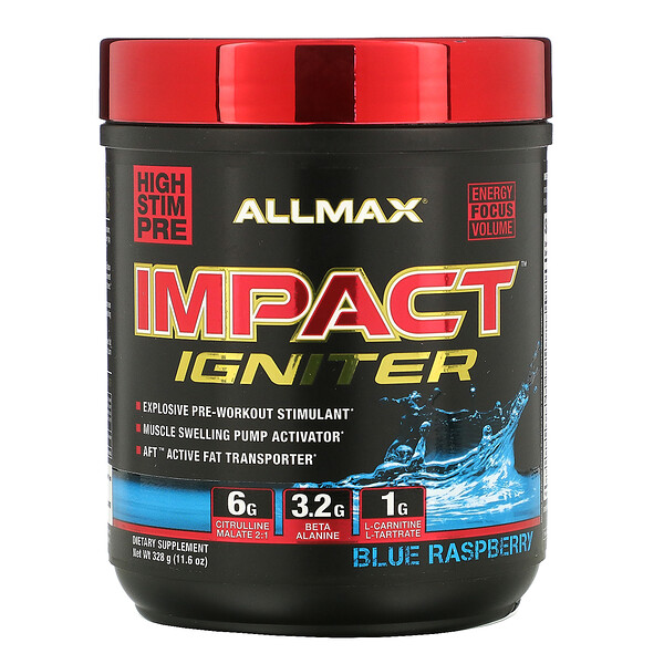 IMPACT Igniter, Pre-Workout, Blue Raspberry, 11.6 oz (328 g)