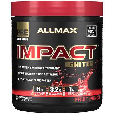 Купить ALLMAX Nutrition Impact Igniter Pre-Workout, Fruit Punch, 11.6 oz (328 g)