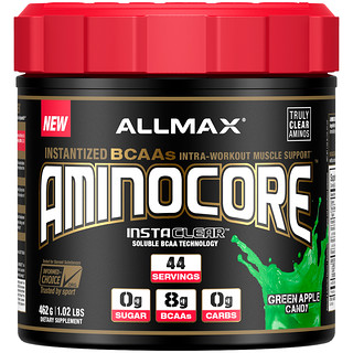 ALLMAX Nutrition, AMINOCORE, BCAA, 8G BCAAs, 100% Pure 45:30:25 Ratio, Gluten Free, Green Apple Candy, 1.02 lb (462 g)
