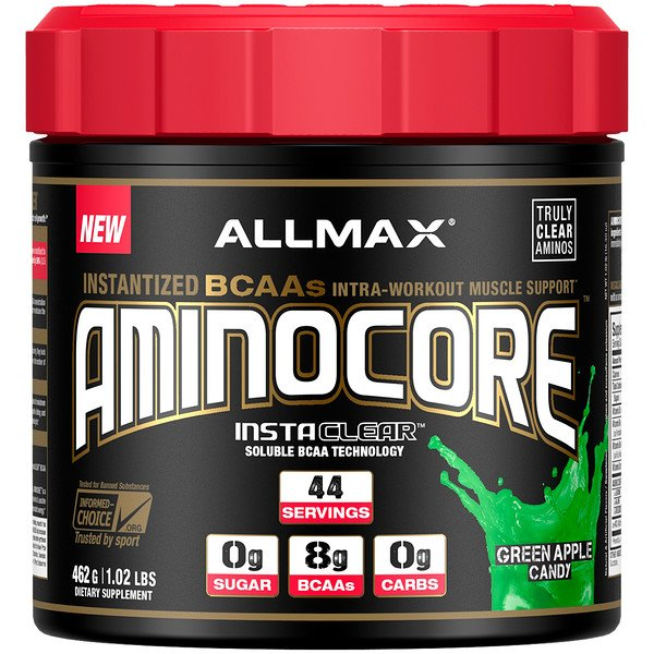 AMINOCORE, Instantized BCAAs Intra-Workout Muscle Support, Green Apple Candy, 1.02 lb (462 g)