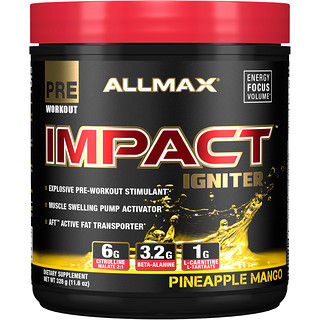 ALLMAX Nutrition, Impact Igniter Pre-Workout, Pineapple Mango, 11.6 oz (328 g)