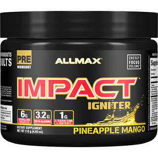 ALLMAX Nutrition, Impact Igniter Pre-Workout, Pineapple Mango, 4.05 oz (115 g)