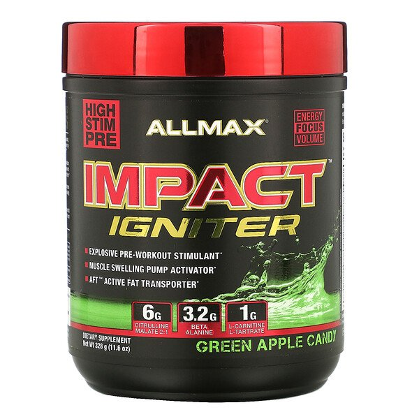 ALLMAX Nutrition, IMPACT Igniter, Pre-Workout, Green Apple Candy, 11.6 oz (328 g) (Discontinued Item)
