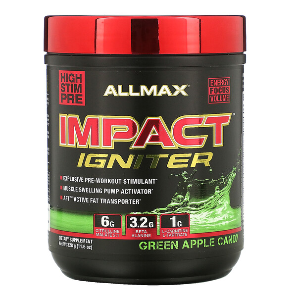 IMPACT Igniter, Pre-Workout, Green Apple Candy, 11.6 oz (328 g)