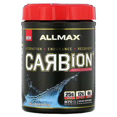 Купить ALLMAX Nutrition CARBion+ с электролитами+гидратация, без глютена, сертифицированный веганский продукт, со вкусом Blue Bomb Pop, 870г (1, 91фунта)