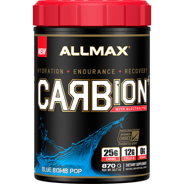 ALLMAX Nutrition, CARBion+ with Electrolytes + Hydration, Gluten-Free + Vegan Certified, Blue Bomb Pop, 1.91 lbs (870 g)