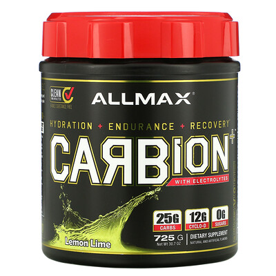Купить ALLMAX Nutrition CARBion+ with Electrolytes Lemon Lime, 30.7 oz (725 g)