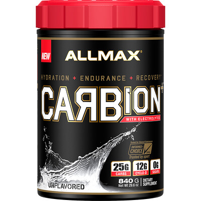 Купить ALLMAX Nutrition CARBion+ with Electrolytes + Hydration, Gluten-Free + Vegan Certified, Unflavored, 1.85 lbs (840 g)