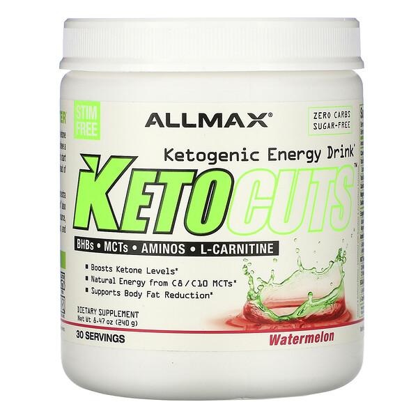 KetoCuts(ケトカッツ)、ケトジェニックエネルギードリンク、スイカ、240g(8.47オンス)
