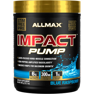 ALLMAX Nutrition, Impact Pump, Blue Raspberry, 12.7 oz (360 g)