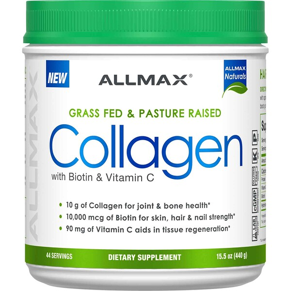 ALLMAX Nutrition, Grass Fed & Pasture Raised Collagen with 10,000 mcg Biotin + 90 mg Vitamin C, 15.5 oz (440 g)