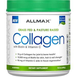 ALLMAX Nutrition, Grass Fed & Pasture Raised Collagen with 10,000 mcg Biotin + 90 mg Vitamin C, 15.5 oz (440 g)'
