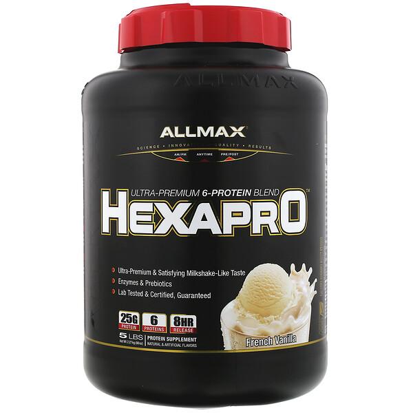 Hexapro(ヘクサプロ)、ウルトラプレミアム6プロテインブレンド、フレンチバニラ、2.27kg(5lbs)