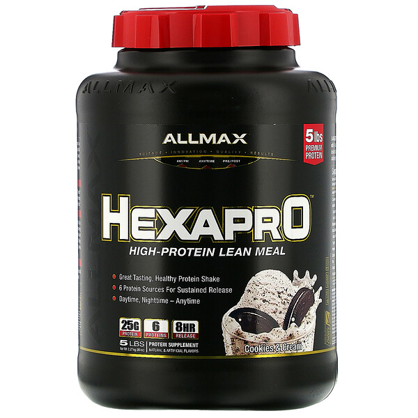 Hexapro, High-Protein Lean Meal, Cookies & Cream, 5 lbs (2.27 kg)