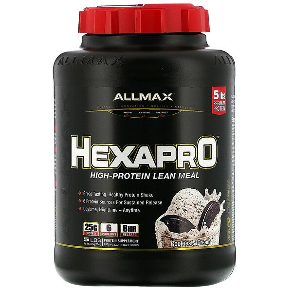 ALLMAX Nutrition, Hexapro, High-Protein Lean Meal, Cookies & Cream, 5 lbs (2.27 kg)