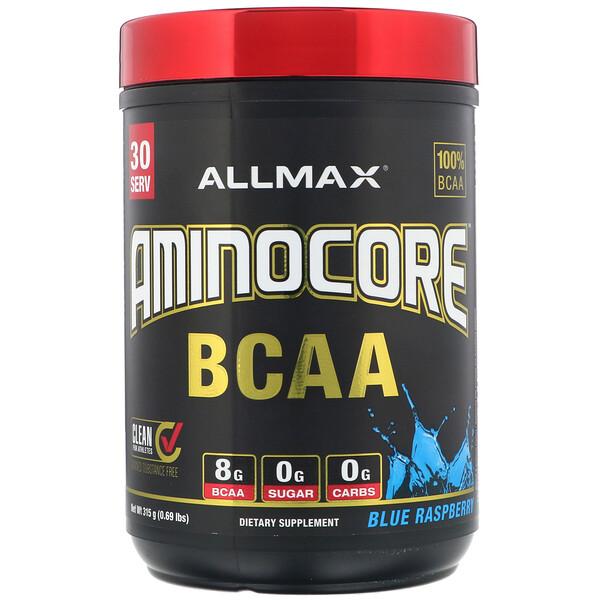 AMINOCORE, BCAA, 8G de BCAA + 0azúcar + 0carbohidratos, Frambuesa azul, 315g (0,69lb)
