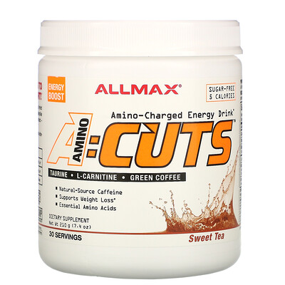 Купить ALLMAX Nutrition AMINOCUTS (ACUTS), Amino-Charged Energy Drink, Sweet Tea, 7.4 oz (210 g)