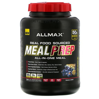 Купить ALLMAX Nutrition Real Food Sourced Meal Prep, All-in-One Meal, BlueBerry Cobbler, 5.6 lb (2.54 kg)