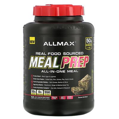 ALLMAX Nutrition Real Food Sourced Meal Prep, All-in-One Meal, Banana Nut Bread, 5.6 lb (2.54 kg)