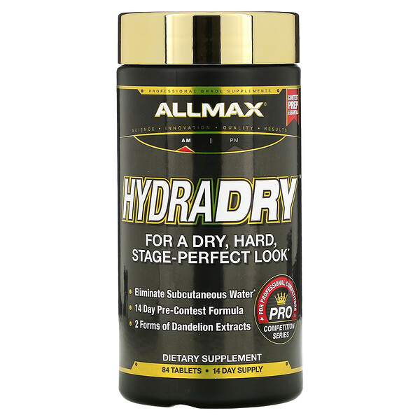 ALLMAX Nutrition, HydraDry, Ultra-Potent Diuretic + Electrolyte Stabilizer, 84 Tablets