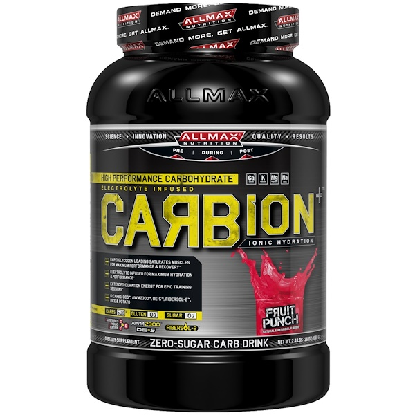 ALLMAX Nutrition, CARBion+, Maximum Strength Electrolyte + Hydration Energy Drink, Fruit Punch, 2.46 lbs. (1.12 k) (Discontinued Item)