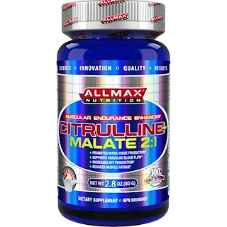 ALLMAX Nutrition, Malate de citrulline 100% de pure + Force maximale + Absorption, 2 000 mg, 80 g (2,8 oz)