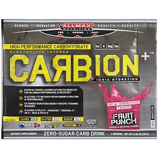 ALLMAX Nutrition, CARBion+, Maximum Strength Electrolyte + Hydration Energy Drink, Fruit Punch, Trial Size, 0.99 oz (28 g)