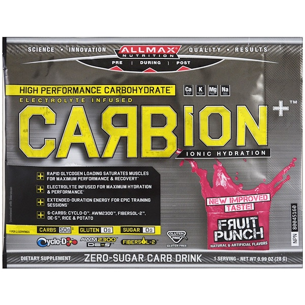 ALLMAX Nutrition, CARBion+, Maximum Strength Electrolyte + Hydration Energy Drink, Fruit Punch, Trial Size, 0.99 oz (28 g) (Discontinued Item)