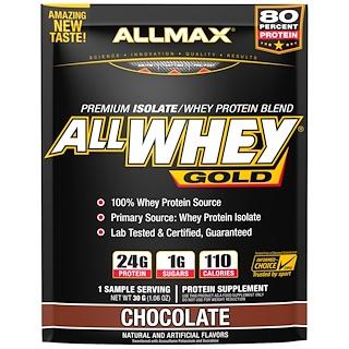 ALLMAX Nutrition, AllWhey Gold, 100% Whey Protein + Premium Whey Protein Isolate, Chocolate, 1.06 oz (30 g)