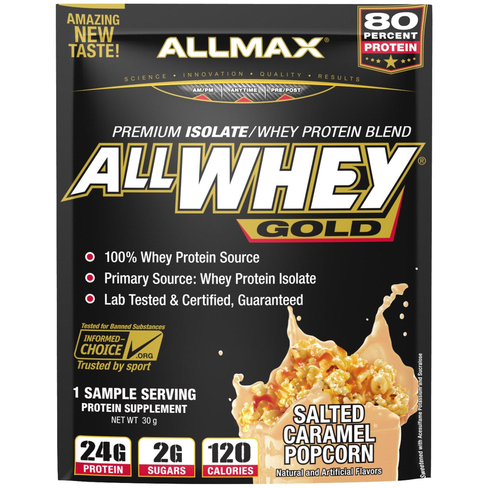 ALLMAX Nutrition, AllWhey Gold, 100% сывороточный протеин + премиум-изолят сывороточного протеина, соленый карамельный попкорн, пробник, 30 г