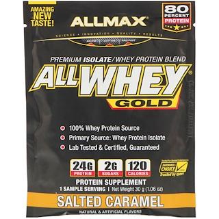 ALLMAX Nutrition, 올웨이 골드, 100% 유청 단백질 + 프리미엄 분리 유청 단백질, 솔티드 카라멜, 1.06 oz (30 g)