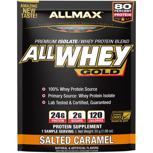 ALLMAX Nutrition, AllWhey Gold, 100% Whey Protein + Premium Whey Protein Isolate, Salted Caramel, 1.06 oz (30 g) (Discontinued Item)