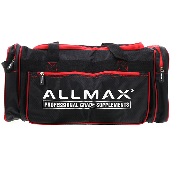 ALLMAX Premium Fitness Gym Bag, Black & Red, 1 Bag