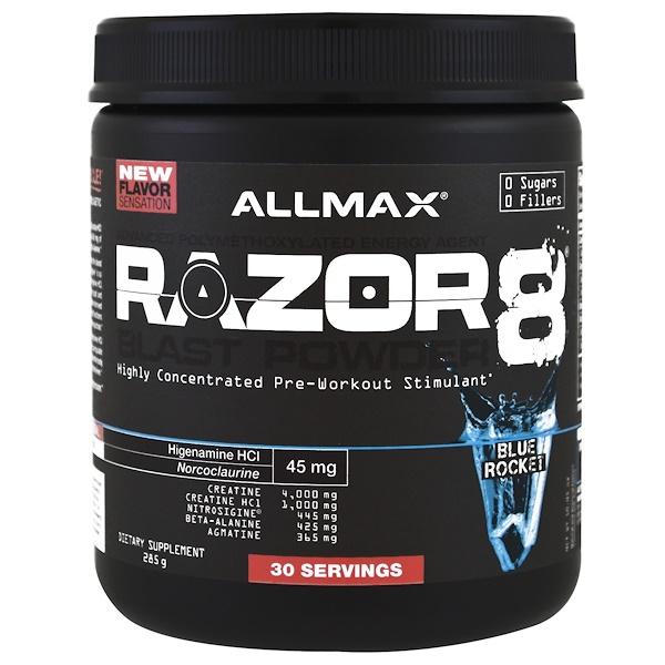 ALLMAX Nutrition, Razor 8 Blast Pre Workout Powder, Blue Rocket, 10.05 oz (285 g) (Discontinued Item)