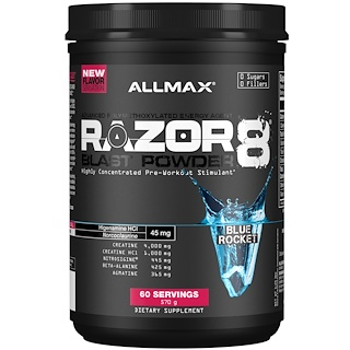 ALLMAX Nutrition, Razor 8, Pre-Workout Energy Drink With Yohimbine, Blue Rocket, 1.25 lb (570 g)