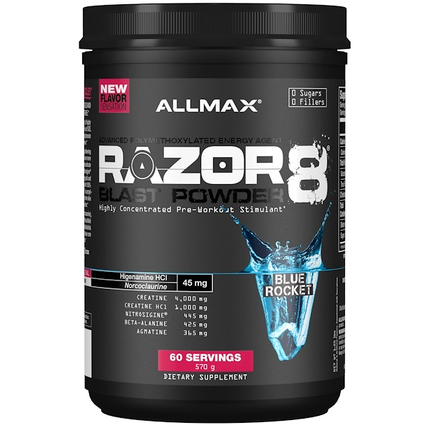 ALLMAX Nutrition, Razor 8, Pre-Workout Energy Drink With Yohimbine, Blue Rocket, 1.25 lb (570 g) (Discontinued Item)