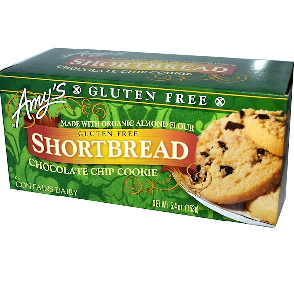 Amy's, Gluten Free Shortbread, Chocolate Chip Cookie, 5.4 oz (153 g) (Discontinued Item)